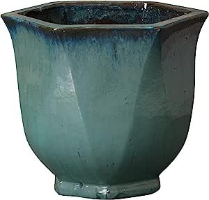 "Emisary Home & Garden 六角形花盆 Cappaccino 蓝绿色 20""H 12755TL-2"