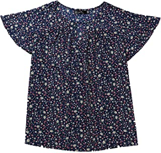 Agnes Orinda 女士加大码雪纺喇叭褶皱袖锁孔衬衫花卉上衣