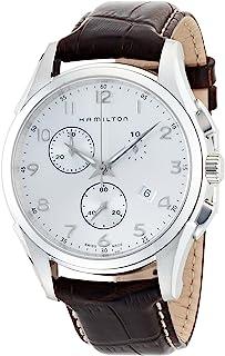 Hamilton Jazzmaster Thinline Chrono 男式石英手表,银色表盘模拟显示和棕色皮革表带 H38612553