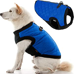 Gooby Fashion Quilted Bomber Dog Vest with Stretchable Chest, Blue, X-Small
