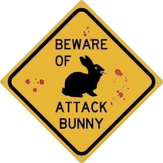 Toothsome Studios Beware of Attack Bunny 12 英寸 X 12 英寸趣味锡路标牌
