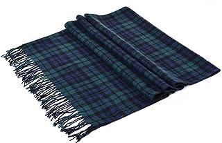 Luxina 2 件套大号格子围巾格子毛毯披肩冬季保暖羊绒