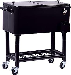 Fidschi不锈钢上菜车,带搁架,可卷起用于饮料和食物的冷却车,91 x 48 x 46 厘米,76 升