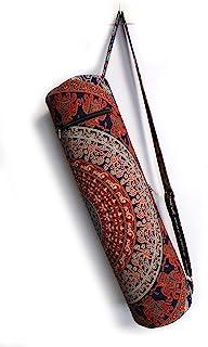 """流行 Handicrafts 印*安曼陀罗大象运动瑜伽垫手提包全拉链带肩带包嬉皮 Blue Multicolor 27"""" Bag Only Kp1276"""