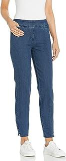 SLIM-SATION 女式宽带套穿纯色九分裤,带人造贴边口袋