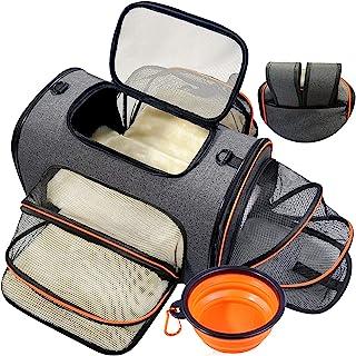 宠物旅行背带包 便携式宠物袋 可扩展宠物运输箱 航空公司认可的折叠宠物笼 适用于狗或猫 柔软侧猫背带 带可折叠碗