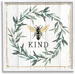 Stupell Industries Bee Kind Phrase Country Farm Insect Pun,Elizabeth Tyndall White 带框墙画,24 x 24