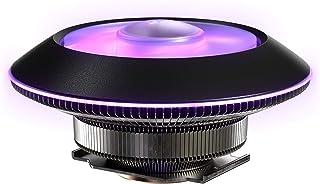 Cooler Master 冷却器 MasterAir G100M RGB 上下低剖面迷你 ITX CPU 空气冷却器,铜热柱底座,铝鳍,92mm RGB 环风扇,RGB 照明,适用于 AMD Ryzen/Intel LGA1151