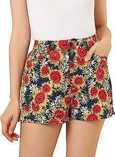 Allegra K 女式向日葵短裤松紧腰度假波西米亚花卉迷你短裤