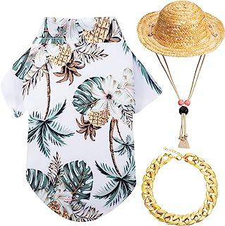 3 件宠物狗夏威夷衬衫夏季酷小狗 T 恤小狗夏威夷海滩服装带宠物夏季草帽和金色链领,适合小型至大型犬(白色,椰子树)