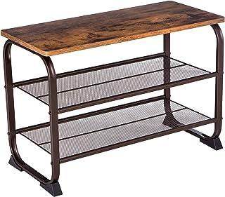 VASAGLE 工业咖啡桌带储物架适用于客厅,