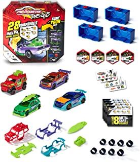 Majorette – Tune Ups 系列 1,4 件套,28 个惊喜,金属玩具车,18 辆汽车装在惊喜包中 4 辆车,包括改装配件,交货:4 件,随机选择