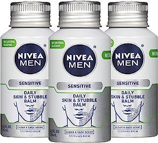 NIVEA 妮维雅 男士敏感肌肤和胡茬膏 - 3 件装,男士面部乳液,适用于剃须前后