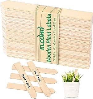 Elcoho 60 件木制植物标签防水尖头木质植物标志牌装饰花园标签,适用于种子盆栽、*、花朵、蔬菜,15 x 2 厘米