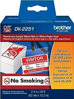 Brother Genuine DK-2251 连续长度替换标签,白纸胶带上的黑色/红色标签,采用卓越设计,2.4 英寸 x 50 英尺,每盒 1 卷