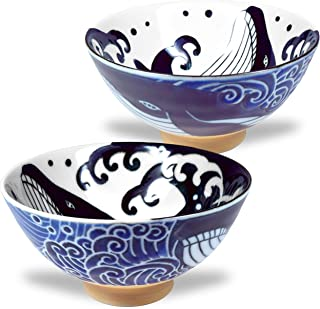 美浓烧 日本饭碗 米拉面 汤萨拉达意大利面 波浪鲸鱼鸡 4.6 英寸 10 盎司(约 11.7 厘米 283.5 克)2 件套