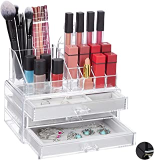 Relaxdays 化妆收纳盒,2件套,带首饰盒,3个抽屉,塑料,高宽深 18.5 x 23.5 x 15厘米,透明