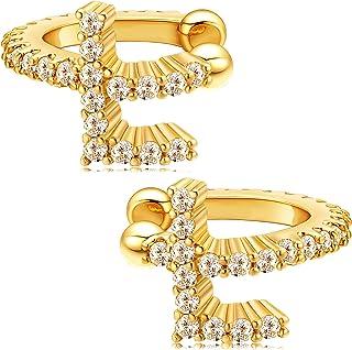 CHESKY 首字母 耳环 18K 镀金方晶锆石字母首字母A-Z 26 字母闪亮 Huggie 非穿孔耳软骨夹缠绕箍名称个性化珠宝礼物