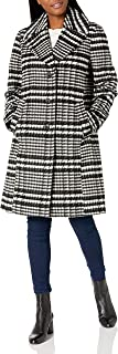 Nine West 女士外套 38 英寸 Sb 格子羊毛大衣