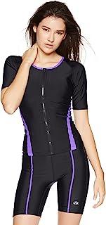A.D.ONE 女士 健身泳衣 游泳衣 游泳衣 短袖 前拉链 分体式 AD-405