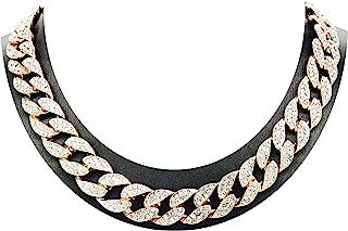 Shiny Jewelers USA 男式 Iced Out Hip Hop 玫瑰金 CZ Miami Cuban 链条 20.32cm,22.86cm,50.80cm,60.96cm,76.20cm 项链手镯