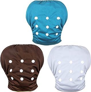Wegreeco 婴幼儿按扣均码可调节可重复使用婴儿游泳尿布(棕色、蓝色、白色、小号,3 件装)