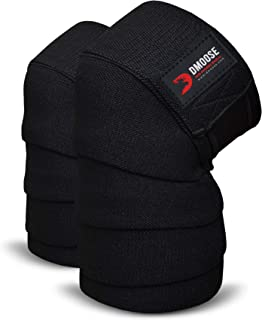 DMoose 健身护膝 - 强韧紧固带,耐用缝合 - 加厚 198.12cm 弹性压缩膝带增强您的举重能力。