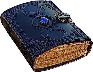 复古期刊 grimoire 凯尔特女巫石皮革书阴影日记空白拼写笔记本黑色三月未开展商品甲板边缘纸巫术素描本女士7x5 英寸(7 x 5)