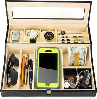HOUNDSBAY Navigator Big Dresser Valet Tray 男式手表盒珠宝收纳盒和智能手机充电站 象牙色 X大码 4279