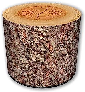 ZTOZZ 室内圆形小袋 - 印花Ottoman 脚凳,适用于餐厅、客厅或卧室,带可拆卸盖子 - 松木印花