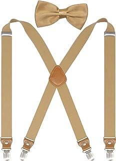 Doloise 背带男式和女式蝴蝶结套装 X 后吊带适用于婚礼和正式活动,带 1 英寸宽弹性背带