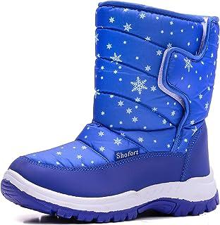 SHOFORT 儿童雪地靴男童和女童防水保暖冬靴带保暖毛皮衬里(幼儿/小童/大童)