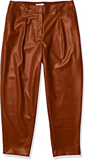 Calvin Klein 女式 Pleat FRNT PU 长裤 烟草棕色