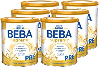 Nestlé BEBA雀巢贝巴 SUPREME Pre段初始婴儿奶粉:适合新生儿 富含Omega 3 6罐装 (6 x 800g)