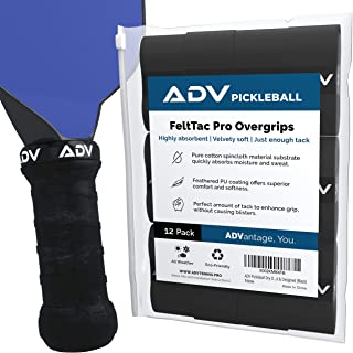 ADV Pickleball Dry Overgrip – 12 件装 – *吸收胶带,采用* Feltac 材料,带来天鹅绒般的舒适感 – 专业测试和设计