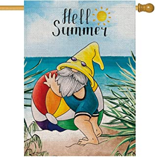 Hello Summer House 旗帜沙滩小矮人度假阳光粗麻布垂直双面户外装饰假日庭院装饰 71.2 x 101.6 厘米