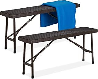 Relaxdays 啤酒长凳 2 件套 可折叠派对长凳 适用于露台和花园,塑料,露营长凳 高宽深:42x100x25 厘米,棕色