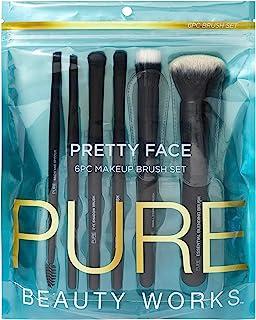 Pure Beauty Works 漂亮脸 6 件套化妆刷套装高级合成刷毛混合刷细毛刷遮瑕刷眼影刷角度刷眉毛和毛线刷套装