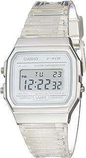 Casio 卡西欧石英手表树脂表带,透明,20(型号:F-91WS-7CF)