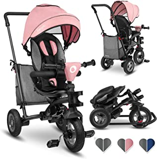 Lionelo Tris 三轮车,配有可转向推杆, 婴儿车,可折叠平衡车,儿童自行车配件,儿童三轮车,适合1岁以上男孩和女孩