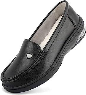 MaxMuxun 女士**餐厅工作轻质防滑皮革平底一脚蹬白色鞋