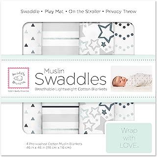SwaddleDesigns 棉布襁褓毯子 4件套 Sterling 星光闪烁样式(深受父母喜爱)