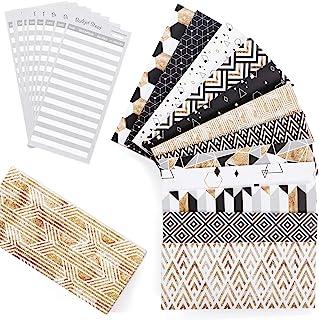 账单信封 - 现金信封系统 - 层压现金信封系统,带账单,12包时尚可重复使用的信封,带新设计的魔术贴封口