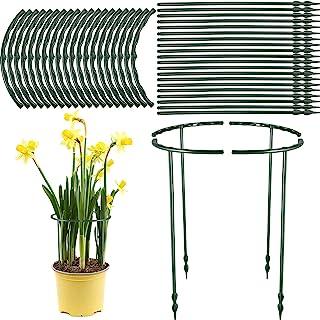 Jetec 塑料植物支撑花园花卉支撑杆半圆形植物支撑环花园植物笼架可调节攀登植物格子架,适用于小型植物,花卉(20 件,10.24 x 6.10 英寸)