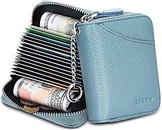 20 个信用卡夹 RFID 屏蔽真皮钱包 适合女士或男士手风琴风格 带拉链 全新蓝色