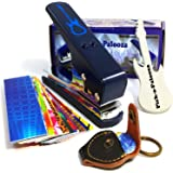 Pick-a-Palooza DIY 吉他拨片打孔器大号礼品包 - 高级拨片机 - 皮革钥匙扣拨片夹,15 根拨片带和吉…