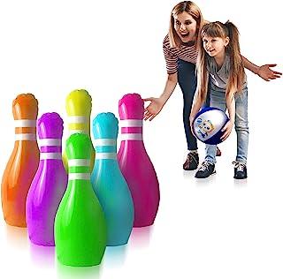 GoSlaz 大型充气保龄球胸针 - 儿童户外草坪保龄球玩具套装 - 后院大型塑料保龄球游戏套装 - 室内派对游戏 - 适合 3-12 岁幼儿男孩和女孩