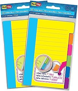Redi-Tag 分隔便签纸,带标签自粘胶内衬便条,每包 60 张横格便签,4 x 6 英寸(约 10.1 x 15.2 厘米),各种霓虹色,2 件装 (10290)