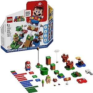 LEGO 乐高 Mario Adventures with Mario 初学者课程 71360 组装套件,互动套装包括马里奥、Bowser Jr. 和 Goomba 人偶,2020(231 件)