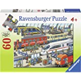 Ravensburger 火车站儿童拼图游戏,60块–每件作品都是独特的,可以完美地契合在一起